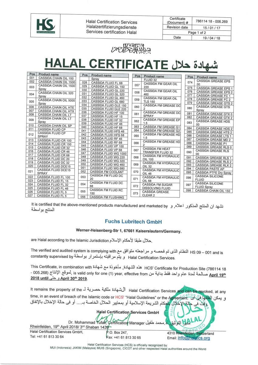 Chứng nhận Hala